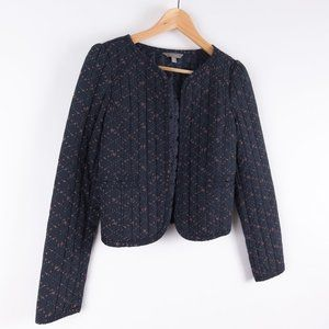 Dainty Quilted Floral Open Mini Sweater